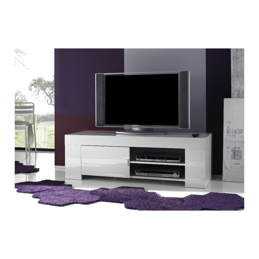 Meuble Tv Hifi Vid O Design Laila 1 Porte 2 Niches Meubles Thiry # Meuble D Angle Tv Blanc Laque