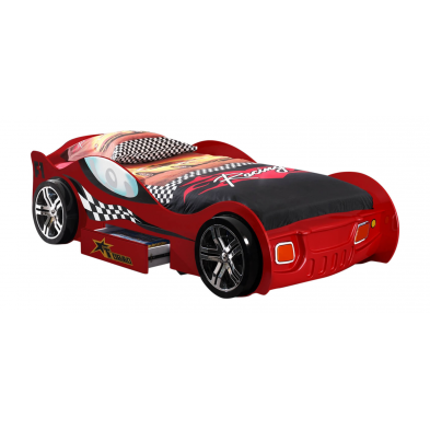 Lit voiture Turbo rouge 90x200 cm