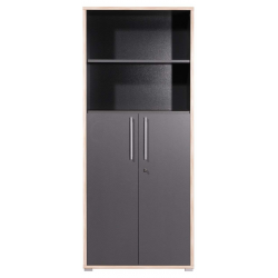 Armoire de bureau GW-DUO 182 cm à 2 portes et 2 compartiments coloris anthracite