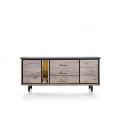 Eivissa, buffet 2-portes + 3-tiroirs + 2-niches - 210 cm (+ LED) - H&H