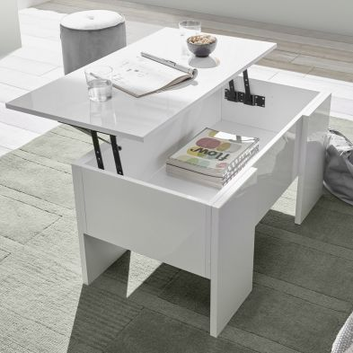 Table basse 92 cm ZITA avec plateau relevable possible en 3 coloris